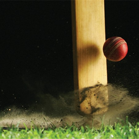 cricket bat and ball in action